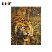RIHE Fierce Tiger Diy Painting By Numbers Animal Oil On Canvas Hand Painted Cuadros Decoracion Acrylic Paint Home Decor