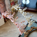 Rosa Blanco Barroco Corona con Pendientes de Accesorios Para el Cabello Flor de la Venda Wedding Party tiara Nupcial Cristalino Grande de Baile Casco