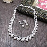 AAA Pear Cut Cubic Zirconia Necklace Earrings Jewelry Set Fashion Wedding Bride Simulated Pearl Choker Women Charms Jewellery