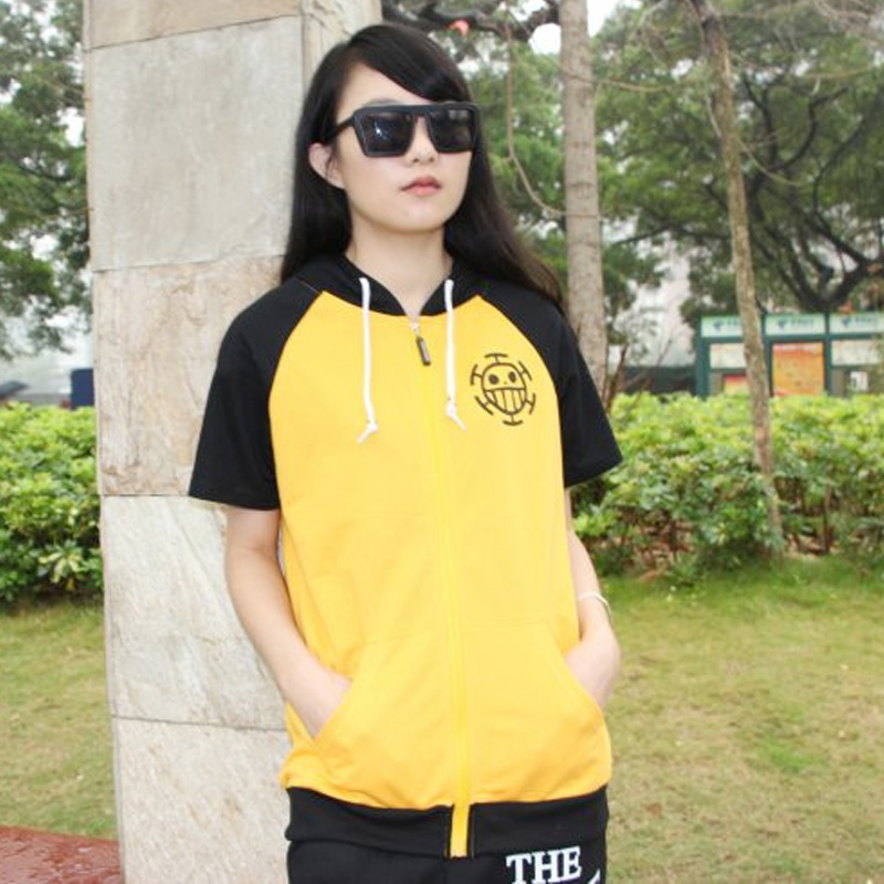Yellow Short Sleeves Anime One Piece Trafalgar Law Hoodies Sweatshirts Adults Summer Tops New