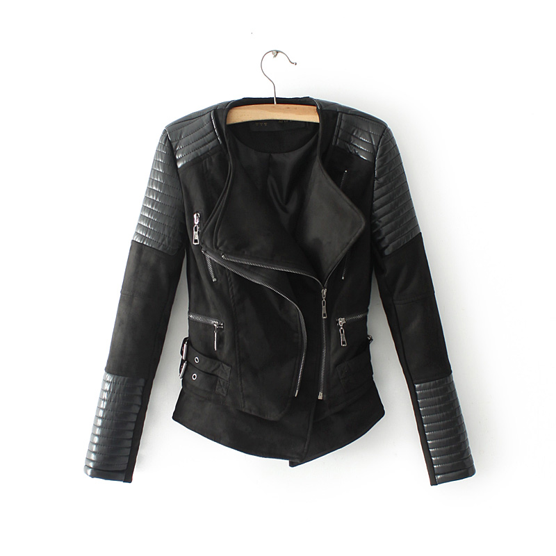 Black Suede Motorcycle Faux Leather Jacket Women Slim Fit Coats