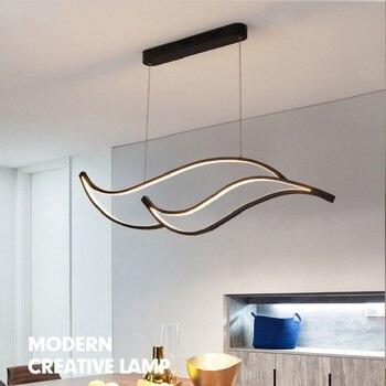 LICAN Modern LED Lustre candelabro Iluminação para Escritório sala de Jantar sala de estar Cozinha Onda De Alumínio LED Lustre Pendente de Iluminação