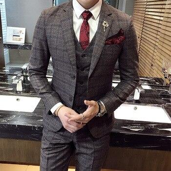 Gratis verzending nieuwe mode hoge kwaliteit mens Plaid suits casual zaken bruidegom trouwjurk past mannelijke 3-delige set suits CSMS014