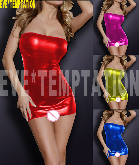 Sexy PVC FAUX LEATHER Underwear Babydoll Lingerie strapless leotard Pole dance seksi Temptation adult  nightclub Party  6362