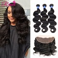 Grade 8A 13x4 Lace Frontal With Bundles Brazilian Bodywave With Closure 3 Bundles And Closure Amazing Hair Company Top Frontal