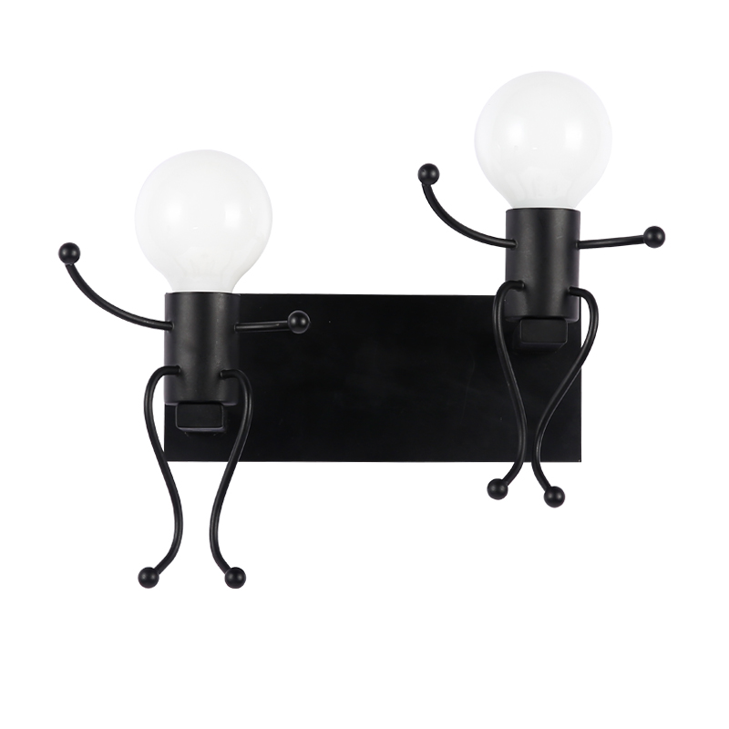 Indoor Decoration Vintage Creative Man Shape Wall Lamp Toolery Cute Light double head Sconce E27 led lamp AC 85 240V Wall Light|wall light|wall lamp|lighting wall lights - title=