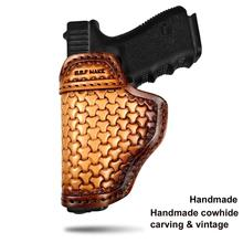 B.B.F MAKE IWB Gun Holster Leather Sheath Case Patternt Pouch For S&W M&P Shield GLOCK 17 18 19 22 23 26 27 32 42 43 SpringField недорого