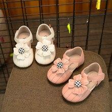 Детская кожаная обувь с цветочным принтом; нескользящая обувь для малышей; обувь принцессы для девочек с мягкой подошвой