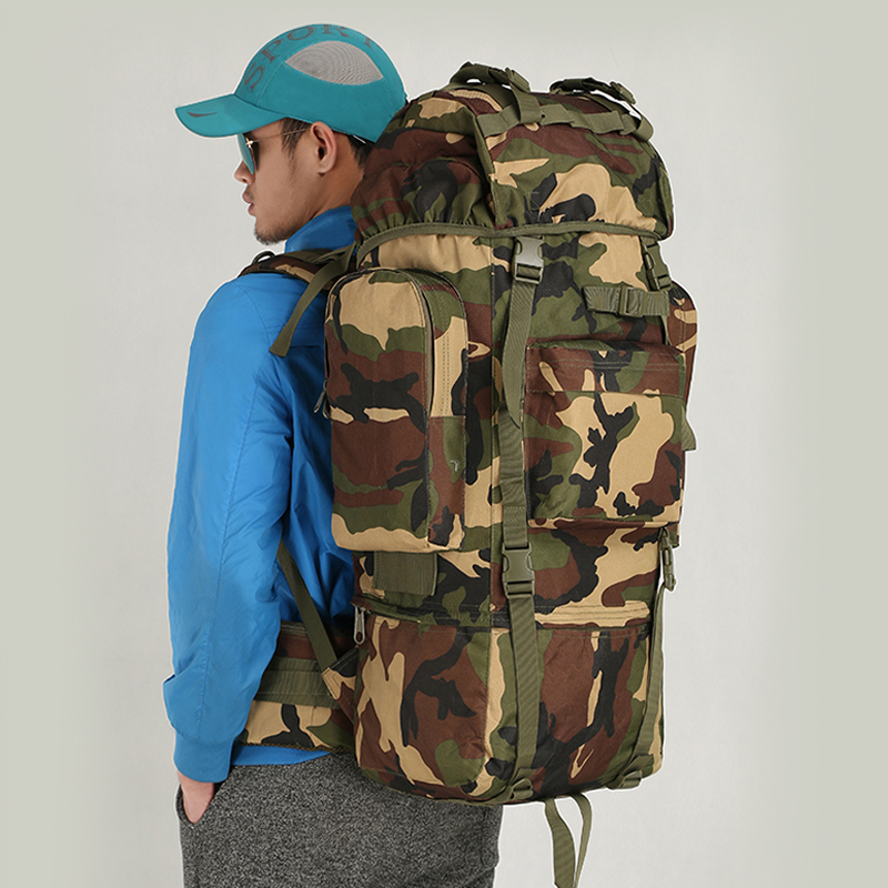 Outdoor 65L High Capacity Hiking Backpack Mountaineering Military Camo Bag U Shaped Support Camping Canvas Travel Men Rucksack lemochic high 65l outdoor mountaineering bag waterproof sport travel backpack camping hiking shiralee luggage canvas rucksack