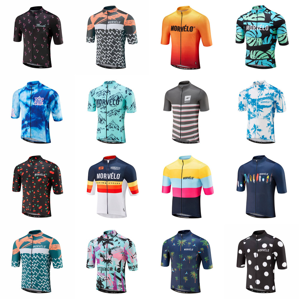 Jersey Shirt Road-Bike-Clothing Short-Sleeves Morvelo Cycling Ciclismo Maillot Men U51308 title=