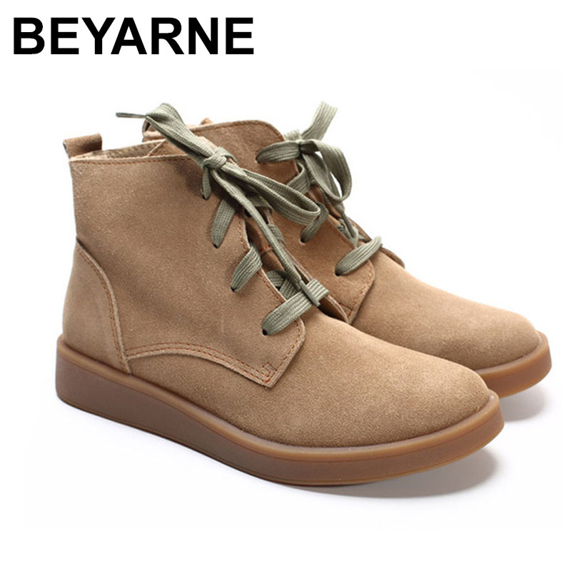 BEYARNE Shoes Woman Ankle Boots 100% Genuine Leather Women's Boots Round toe lace up Boots Female Footwear front lace up casual ankle boots autumn vintage brown new booties flat genuine leather suede shoes round toe fall female fashion
