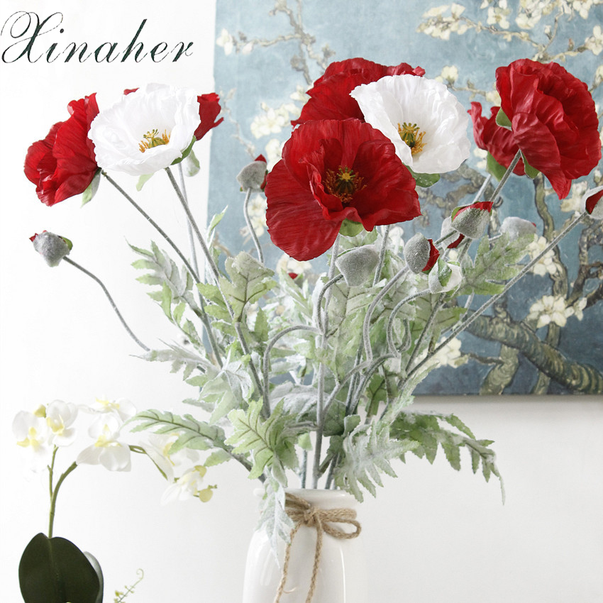 5pcs artificial big poppy flower with leaves fleurs artificielles 5pcs artificial big poppy flower with leaves fleurs artificielles for autumn fall home party decoration wreath fake silk flowers in artificial dried mightylinksfo