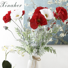 Buy poppy leaves and get free shipping on aliexpress 5pcs artificial big poppy flower with leaves fleurs artificielles for autumn fall home party decoration wreath mightylinksfo