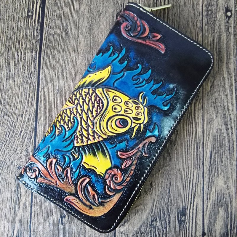 Handmade Women Genuine Leather Card Holder Wallets Carving Fortune Carp Bag Purses Men Clutch Vegetable Tanned Leather Wallet luxury brand handmade genuine cowhide vegetable tanned leather men wowen long slim wallet wallets purse card holder clutch bag