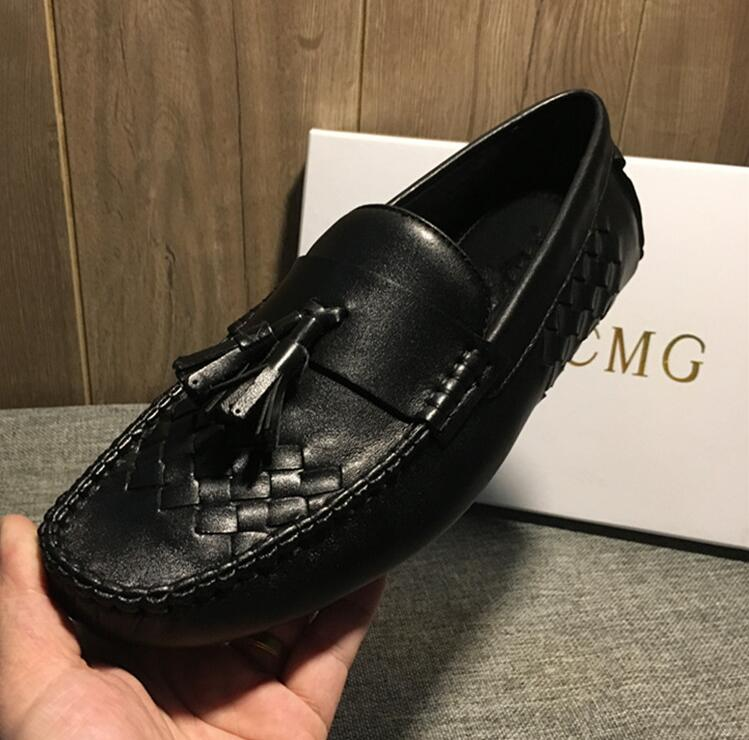 Moccasin Gommino Summer Shoes Men Slip On Genuine Leather Soft Sole Handmade Knitting Tassels Male Smart Casual Driving Shoes vikeduo brand retro handmade men moccasin gommino fashion casual shoes leather tassel shoes hand painted footwear