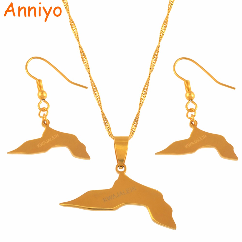 Anniyo KWAJALEIN Map Jewelry sets Necklace Earrings Jewelry sets for Women Gold Color Ethnic Jewellery Gifts #041921