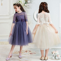 Çiçek kız elbiseler için parti ve düğün boyutu 4 6 7 8 9 10 11 12 13 14 15 16 genç abiye çocuklar dantel prenses elbise
