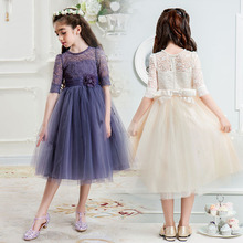 Flower girl dresses for party and wedding size 4 6 7 8 9 10 11 12 13 14 15 16 teenager evening dresses kids lace princess dress