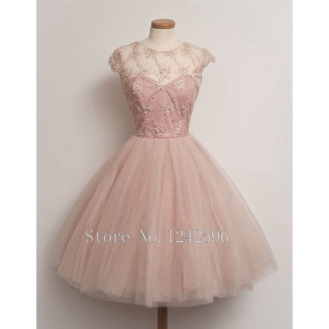 Vintage Short Tulle Women Gowns Light Pink Cocktail Dresses With Cap ...