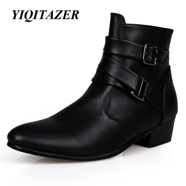 YIQITAZER 2017 New Fashion Ankle Motorcycle Boots Men,Rubber Soles Pointed Toe PU Cowboy Shoes Man Military boots Black White
