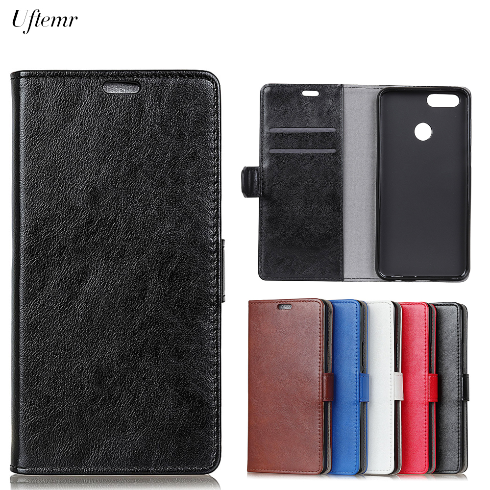 Uftemr Luxury Business Leather Case For Huawei P Smart Crazy House Skin Flip Cover For Huawei Enjoy 7s Phone Coque P Smart