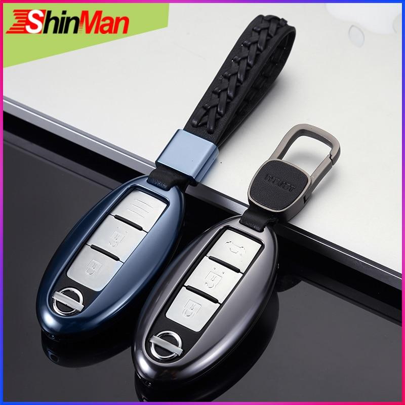 Clé en alliage ShinMan clé de voiture housse pour Nissan X-TRAIL ensoleillé Murano Teana mars Bluebird Maxima QASHQAI LIVINA TIDA SYLPHY