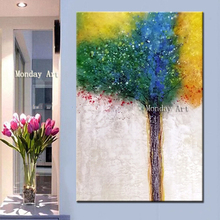 Handpainted classical Landscape Oil Painting on Canvas Large tree Handmade Colorful Tree Modern Home Decor Wall poster