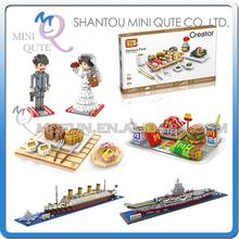 Mini Qute WTOYW LOZ Kawaii Mcdonald's mooncake warship Titanic Sushi plastic model building blocks blocks brick educational toy