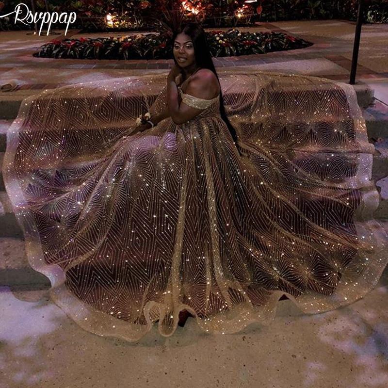 Long Sparkly Glitter   Prom     Dresses   2019 V-neck Cap Sleeve Elegant Golden Sequin African Plus Size Girl   Prom     Dress