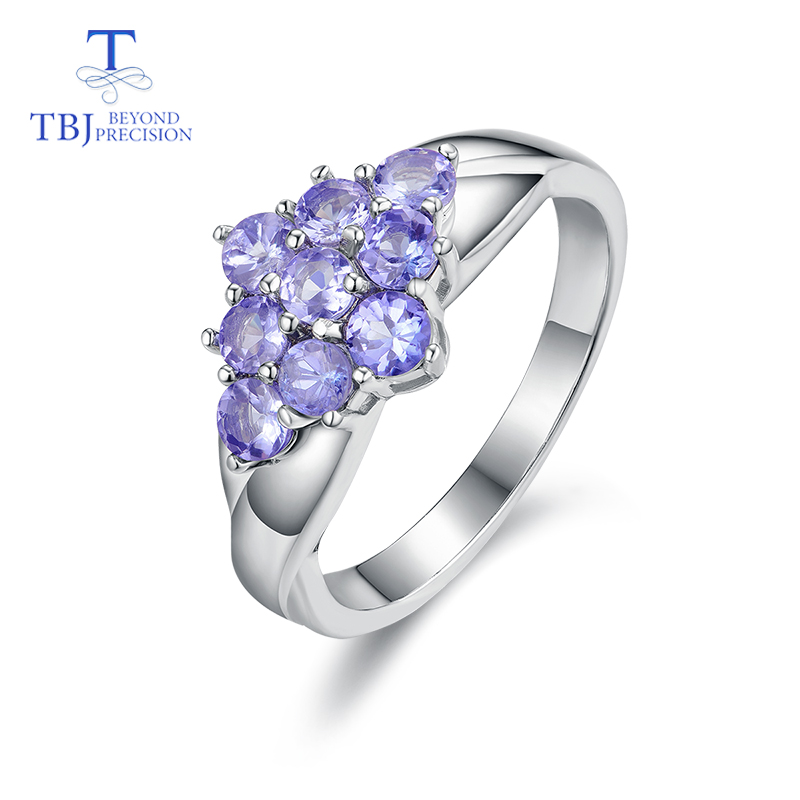 TBJ Romantic small ring with natural Good color blue Tanzanite gemstone girl Ring in 925 sterling