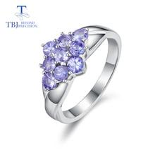 Tbj, romantische Kleine Ring Met Natuurlijke Goede Kleur Blauw Tanzanite Edelsteen Meisje Ring In 925 Sterling Zilveren Fijne Sieraden Voor Vrouwen