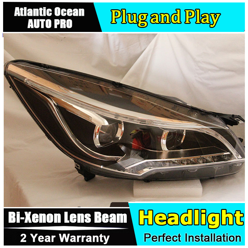 Auto Lighting Style LED Head Lamp for Ford Kuga led headlights 2013-2015 Escape angel eye drl HID KIT Bi-Xenon Lens low beam hireno headlamp for 2013 2015 ford kuga escape se headlight headlight assembly led drl angel lens double beam hid xenon 2pcs