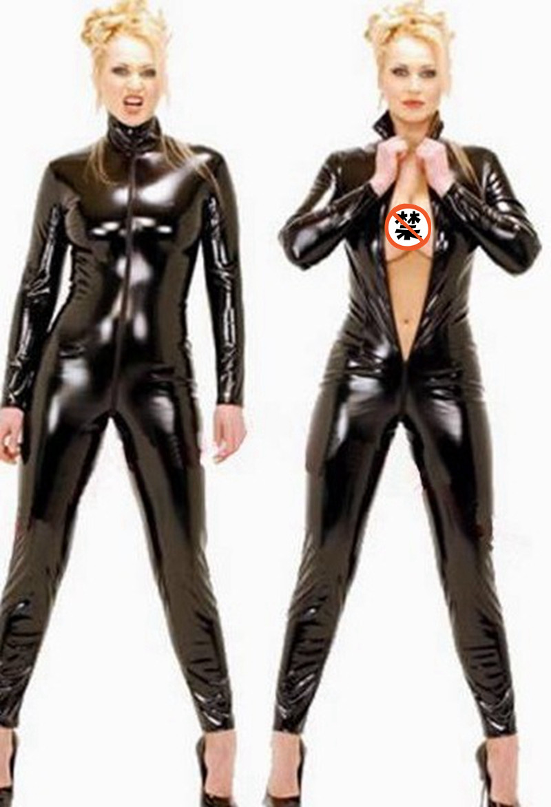 Sexy Wetlook Black Catwomen   Jumpsuit   PVC Spandex Latex Catsuit Costumes for Women Body Suits Fetish Leather clothe Plus Size 4XL
