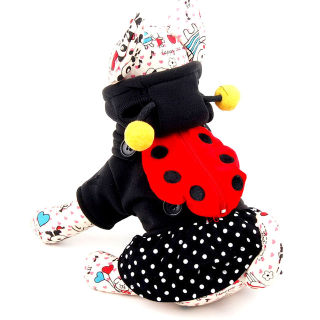small girl dog dresses pet coat ladybug dog halloween costumes puppy hoodie tiered dress with backpack