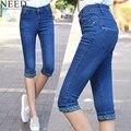 2017 Mulheres Primavera Denim Calças Capris Calça Jeans de Cintura Alta Mulher Na Altura Do Joelho Shorts Jeans Plus Size