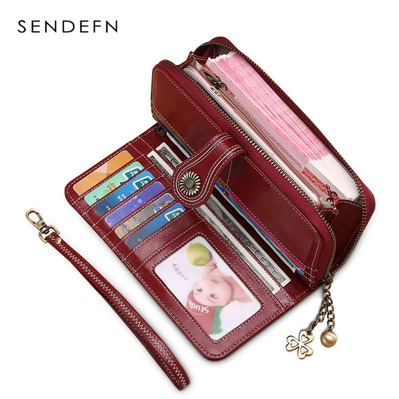 Sendefn Split Leather Wallet Luxury Brand Vintage Style Women Clutch Large Capacity Walet Female Dollar Long Purse Flower Hard