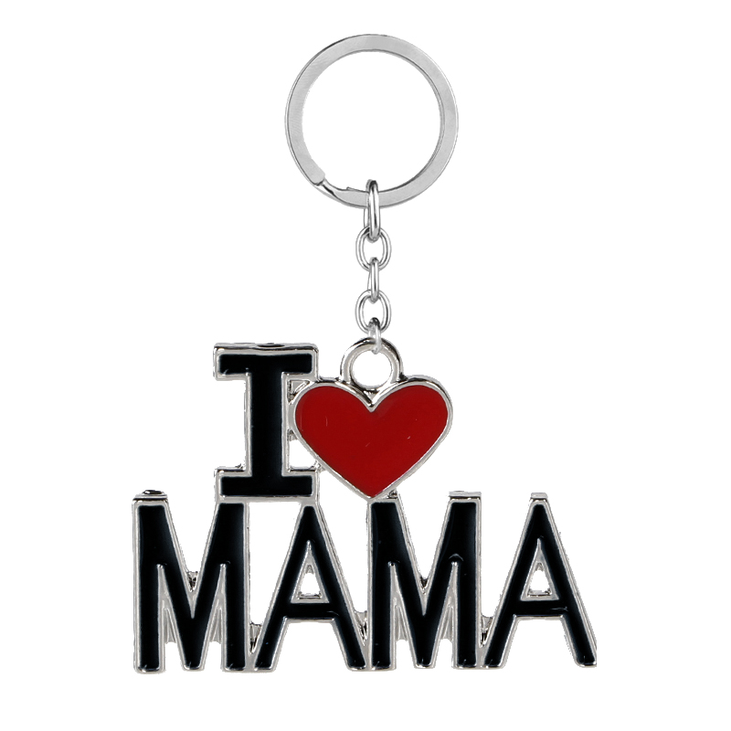 Family Jewelry Gift Enamel Heart I Love MAMA/MOM/DAD/PAPA Carton Key Chains Bag Rings Mothers Fathers Day Souvenir Jewelry Gift