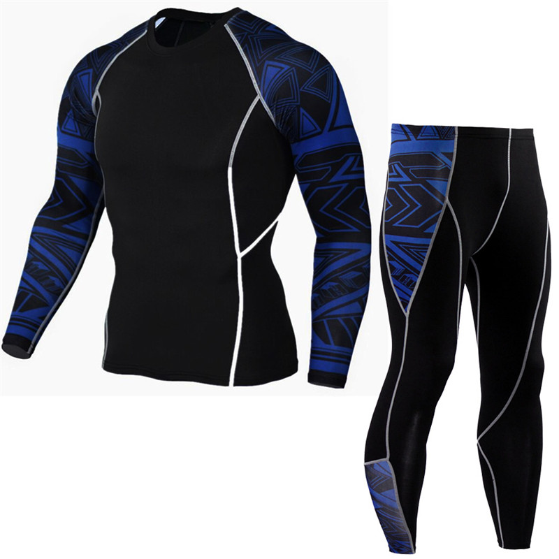 Men's Compression Run jogging Suits Clothes Sports Set Long t shirt And Pants Gym Fitness workout Tights clothing 2pcs/Sets 2