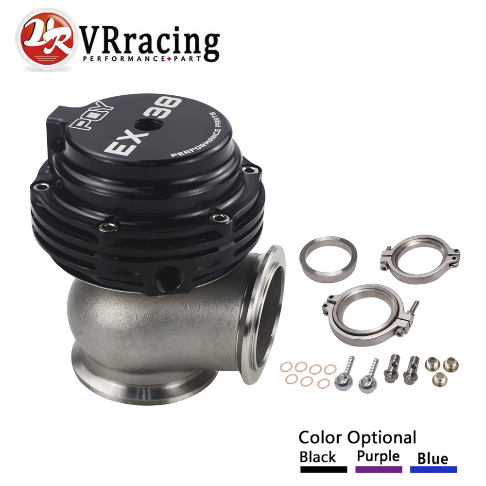 VR RACING - EX 38mm WASTEGATE WITH V-BAND AND FLANGES TURBO WASTEGATE WITH PQY LOGO VR5831-QY wlr racing ex 38mm wastegate with v band and flanges turbo wastegate with pqy logo wlr5831 qy