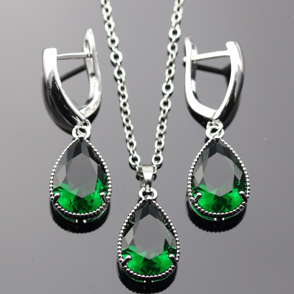 Lan Trendy Water Drop Shaped Sliver Planted Jewelry Sets Green AAA Zircon For Necklace Pendant /Earring Free Shipping ...