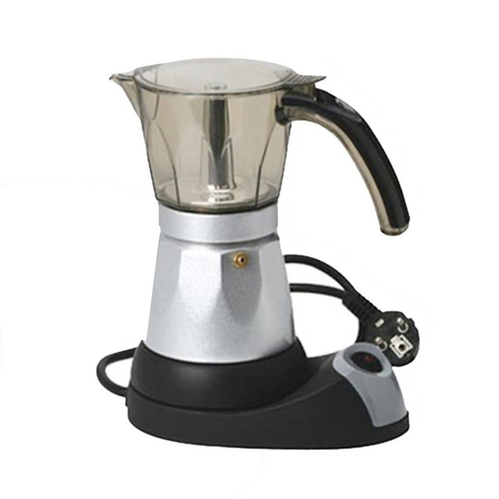 3 to 6 Cup Electric Moka Coffee Pot Percolators Tool Filter Cartridge Aluminium Alloy Electrical Espresso Maker EU Plug gift box set handleless pot pillar cup filter cup drip coffee maker grinder home use can send a person top grade coffee gift box
