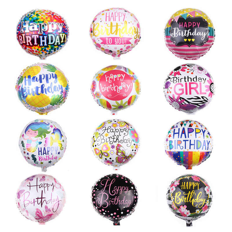 1Pc 18 inch Happy Birthday Foil Balloons Children Birthday Inflatable Toys Ballons Helium Foil Balloons For Kids Party Supplies
