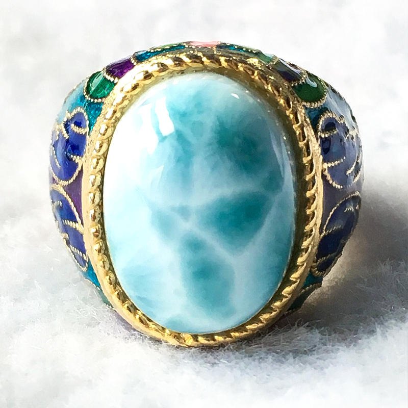 자연 larimar 실버 반지, 타원형 12mm * 16mm, 희귀 한 푸른 larimar 돌, 패션과 파티에 대한 인기-에서반지부터 쥬얼리 및 액세서리 의  그룹 2