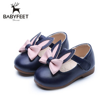 2017 The Summer Autumn Hot Sale Baby Girls First Walkers Non Skid Rubber Sole Breathable Rabbit Bow Decoration Round Tip Binding