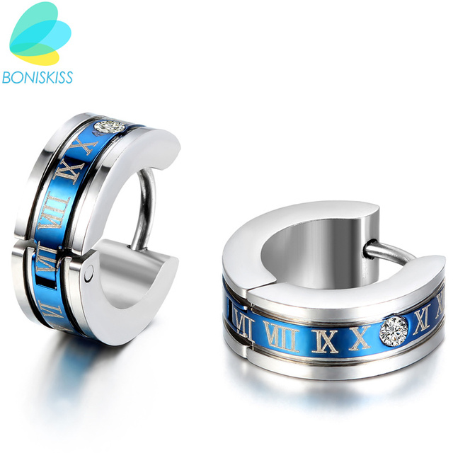 1 Pair Fashion Men S Stainless Steel Earring Roman Numeric Engrave Hoop For Boys Gold Blue