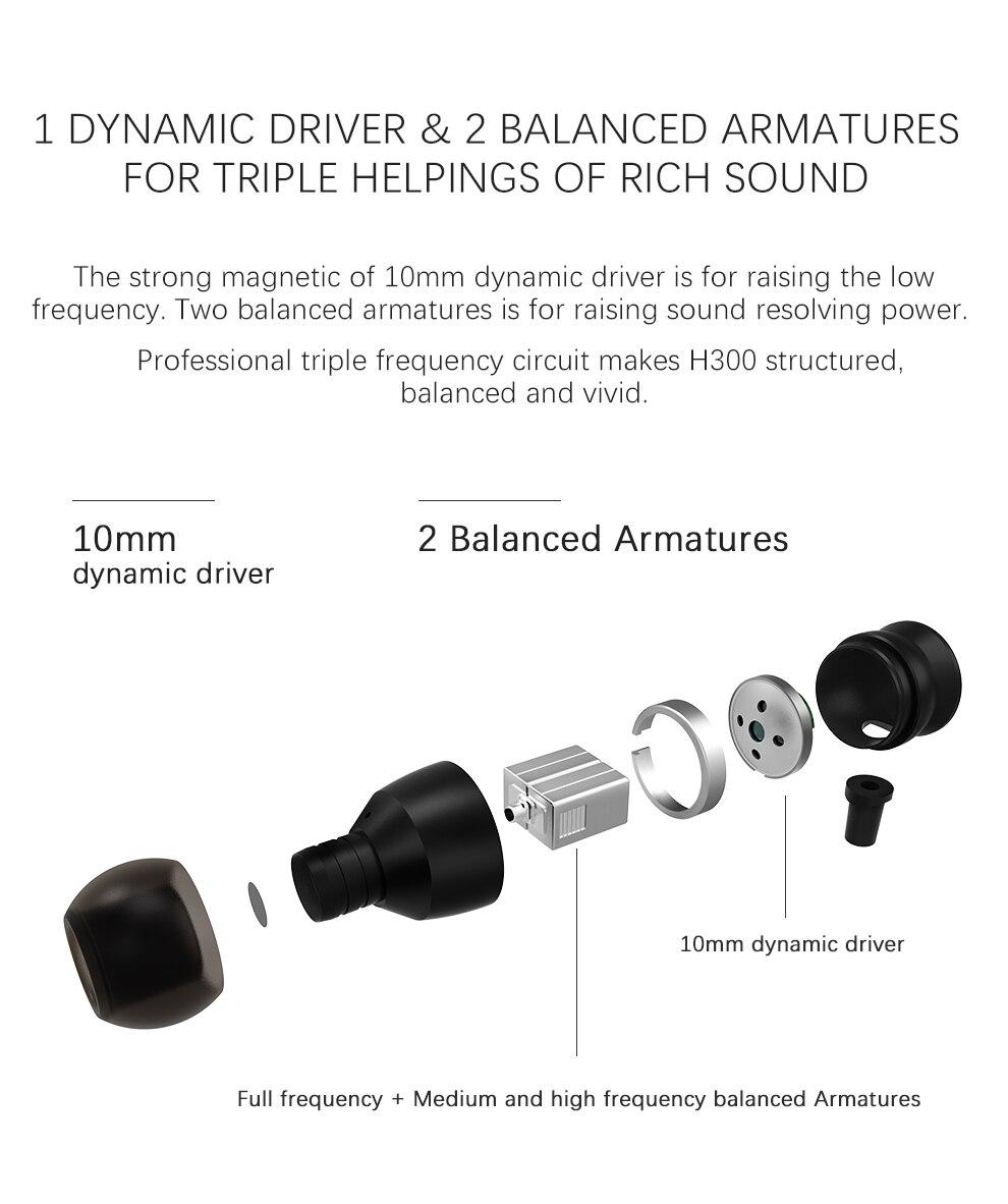 triplo híbrido dinâmico + armadura equilibrada alta