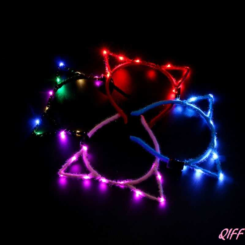 1Pc Women Girls LED Flashing Cute Pointed Cat Ears Hair Hoop Glowing String Lights Plush Cloth Wrapped Headband Party Supplies