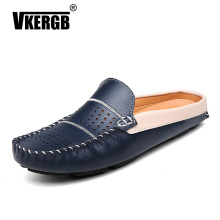 New Hollow Casual Men Sandals Comfortable Summer Genuine Leather Driving Shoes Breathable Flat Outdoor Beach