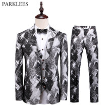 Latest Coat Pant Designs Tuxedo Suit Men 2019 Brand New Luxury 3 Piece Fashion Print Dress Suits Wedding Groom Prom Costumes 5XL(China)