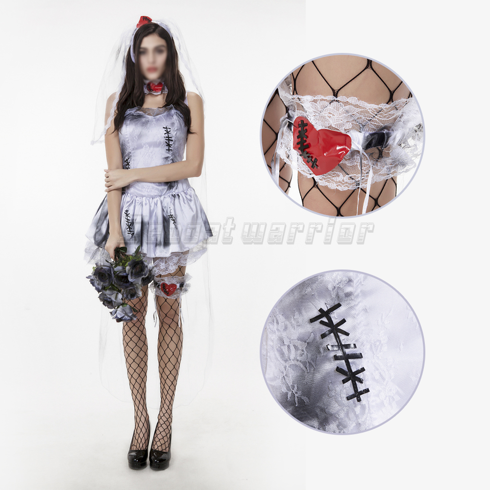 Halloween Sexy dark night ghost bride dress vampire blood patch party performance Masque show cosplay costume
